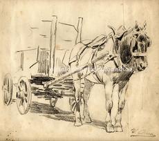 """Ulpiano CHECA Y SANZ - Drawing-Watercolor - """"Acarreo de piedra"""" Colmenar de Oreja"""