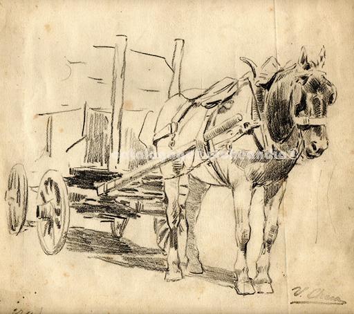 """Ulpiano CHECA Y SANZ - Drawing-Watercolor - Madrid  - """"Acarreo de piedra"""" -"""