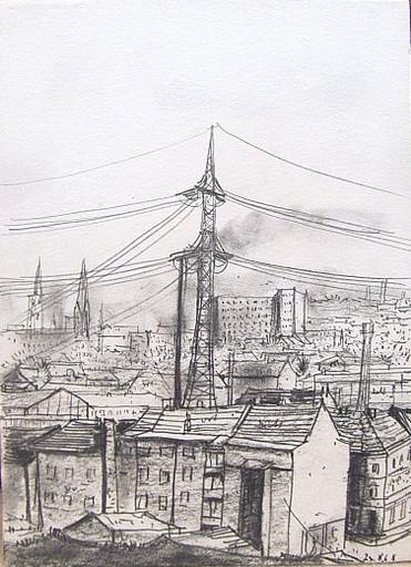 Friedrich EINHOFF - Drawing-Watercolor - #20022: Blick von Halde nach Schalke.
