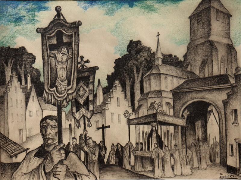 """Raymond DIERICKX - Drawing-Watercolor - """"LA PROCESSION SOUS LE PORCHE"""""""