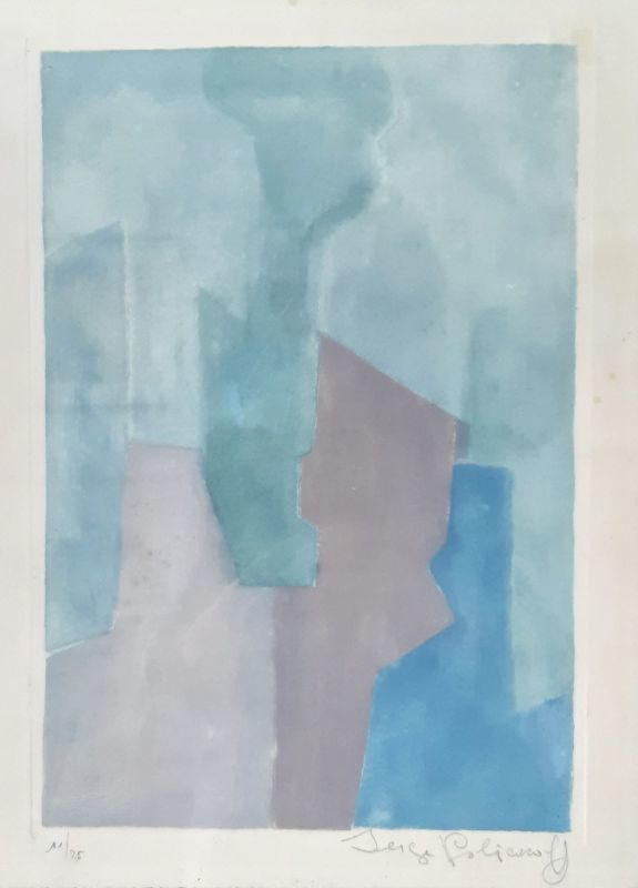 Serge POLIAKOFF - Estampe-Multiple - Composition Bleue N°XXIV