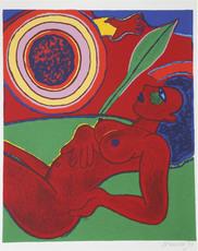 CORNEILLE - Grabado - Le nu rouge en été