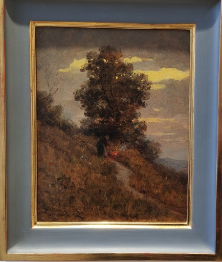 Marie ONKEN-PALME - Gemälde - Abendstimmung mit Lagerfeuer