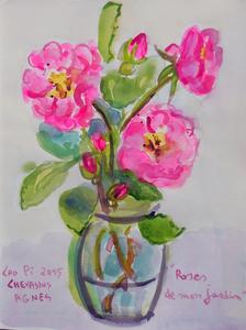 Jean-Pierre CHEVASSUS-AGNES - Dessin-Aquarelle - bouquet de roses  rouges de mon jardin