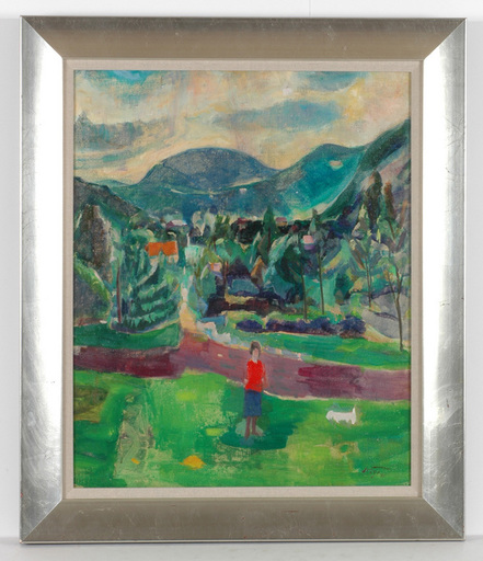 """Frederick SERGER - Painting - """"Helen Serger walking the dog"""" oil painting, 1940s"""