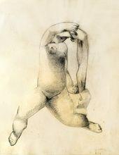 Joseph CSAKY - Drawing-Watercolor - Woman Raising her Hand