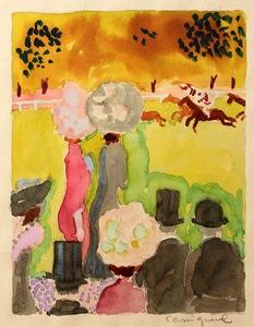 Jean-Pierre CASSIGNEUL - Drawing-Watercolor - Aux courses
