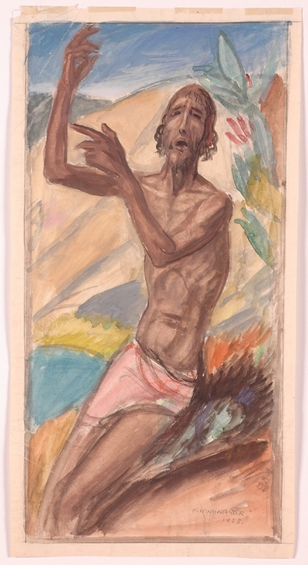 "Franz WINDHAGER - 绘画 - ""Hermit"", Watercolor"