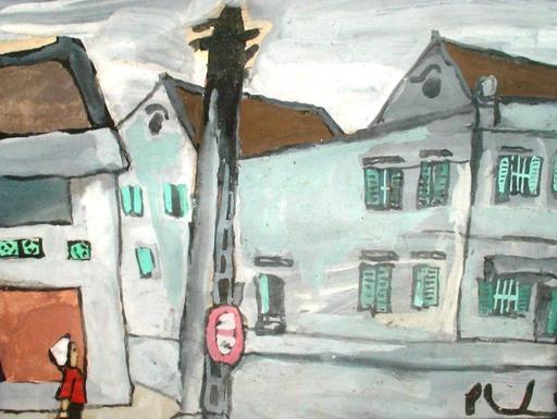 Xuan Phai BUI - Painting - Hanoi street corner house with green louvre