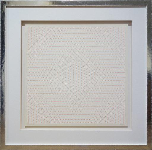 Hartmut BÖHM - 版画 - Serielle Struktur I - orange auf weiß