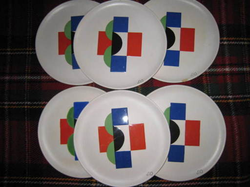 Sonia DELAUNAY-TERK - Ceramic -  6 ASSIETTES ET 6 SOUS ASSIETTES