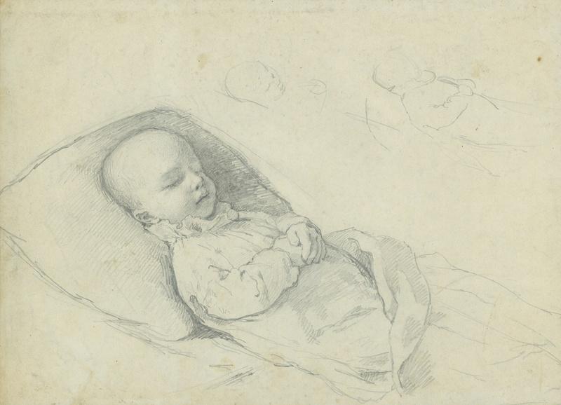 Gabriel Cornelius VON MAX - Zeichnung Aquarell - Lukas Müller auf dem Totenbett