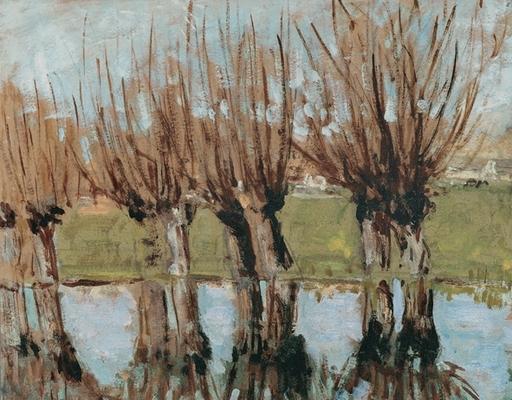 Pierre Eugène MONTEZIN - Peinture - Arbres au bord de la rivière