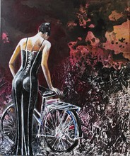 Donatella MARRAONI - Pintura - Woman & Bike...by night