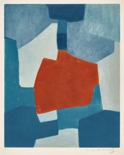 Serge POLIAKOFF - Stampa Multiplo - Composition bleue et rouge n°XXXI