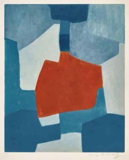 Serge POLIAKOFF - Print-Multiple - Composition bleue et rouge n°XXXI