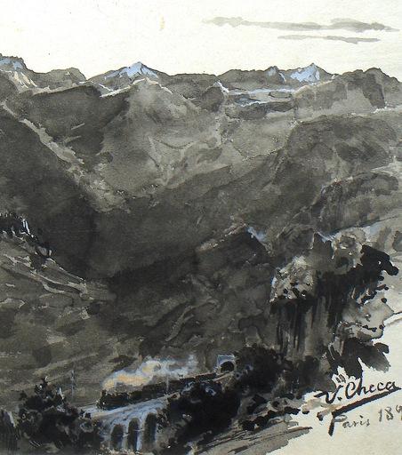 Ulpiano CHECA Y SANZ - Drawing-Watercolor - Pyrénées  -  España - Astruc