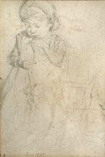 Max LIEBERMANN - Drawing-Watercolor - Girl (recto), Women Group  (verso)