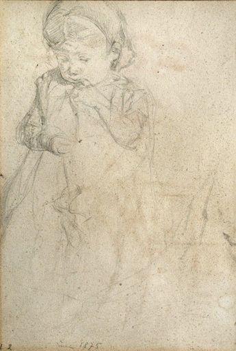 Max LIEBERMANN - Zeichnung Aquarell - Girl (recto), Women Group  (verso)