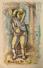 Mario CARREÑO - Dibujo Acuarela - Desnudo de mujer
