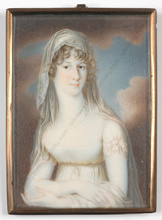 "Johann HEUSINGER (Attrib.) - Miniatura - ""Portrait of a young lady"", miniature on ivory, 1805/10"
