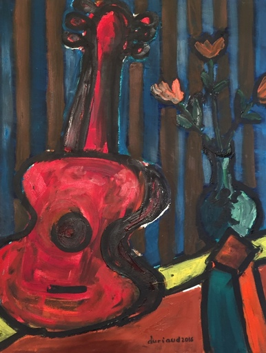 Christian DURIAUD - Pintura - La guitare rouge