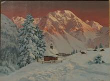 Alois ARNEGGER - Pintura - Winter Scene in the Alps