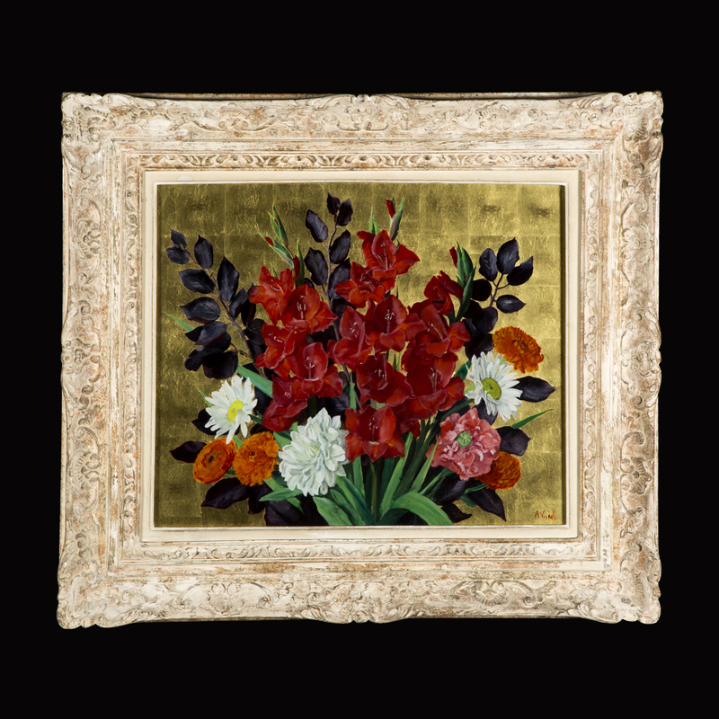 André VIVREL - Pintura - Bouquet de fleurs sur fond or