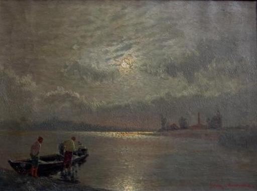 Ernst LORENZ-MUROWANA - Painting - Fishermen in Moonlight