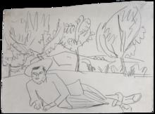 Ernst Ludwig KIRCHNER - Dibujo Acuarela - Reclining Young Man | Liegender junger Mann