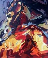 Meliha YILMAZ - Painting - Woman with dog