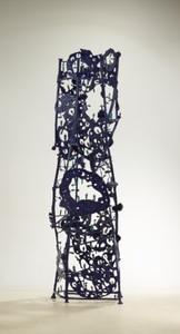 Gunter DAMISCH - Sculpture-Volume - Blaues Plattenlochsteherturmkonstrukt