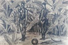 Émile Marie BEAUME - Dessin-Aquarelle - Deux femmes africaines dans un paysage de palmes