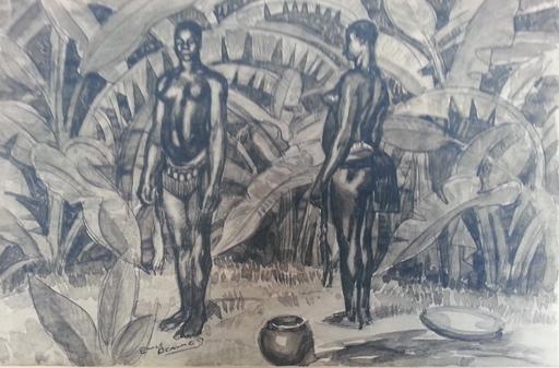 Émile Marie BEAUME - Dibujo Acuarela - Deux femmes africaines dans un paysage de palmes