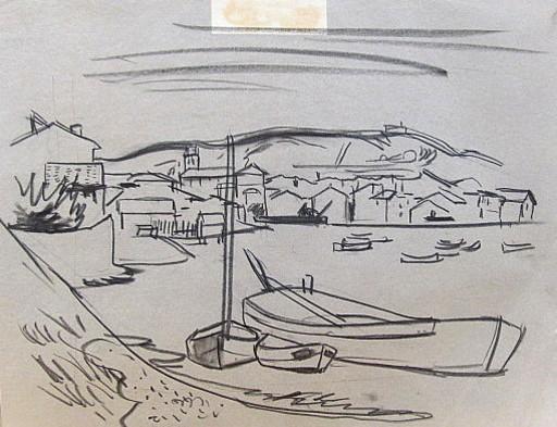Erich HARTMANN - Dibujo Acuarela - #19981: Martigues (Provence)
