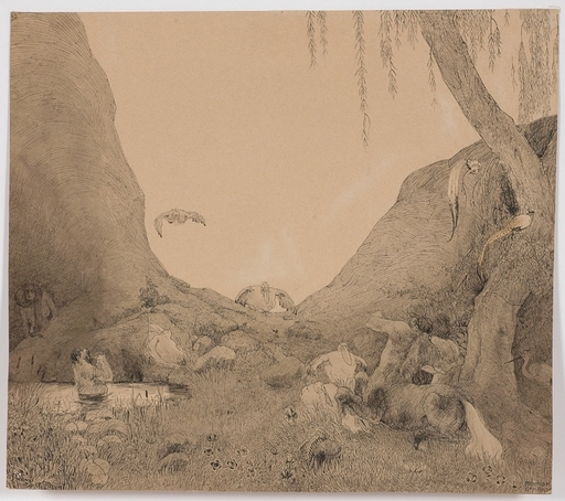 "Erhard Amadeus DIER - Dibujo Acuarela - ""Mythological Scene"" by Erhard Amadeus-Dier , ca 1920"