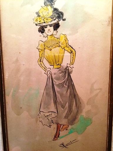 Gustave D. RIQUET - Dessin-Aquarelle - Elegante de face