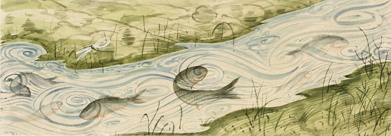 Anton LEHMDEN - Disegno Acquarello - Flußlandschaft mit Fische