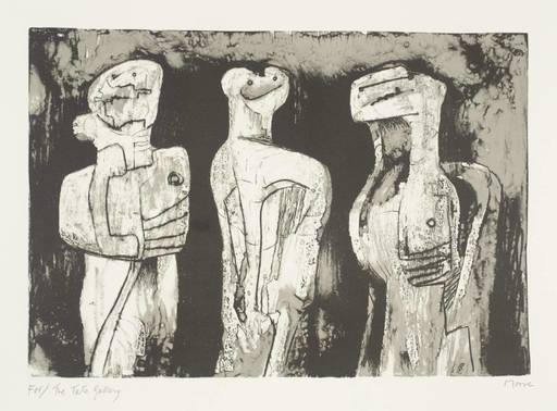 亨利•摩尔 - 版画 - Three standing figures
