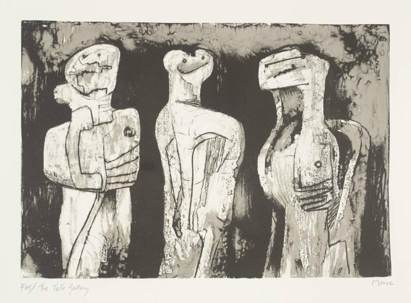 Henry MOORE - Druckgrafik-Multiple - Three standing figures