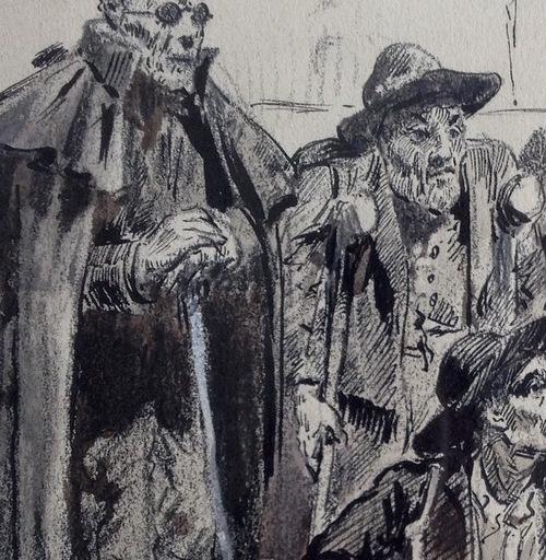 Ulpiano CHECA Y SANZ - Zeichnung Aquarell - La cour des miracles-Corte de los milagros