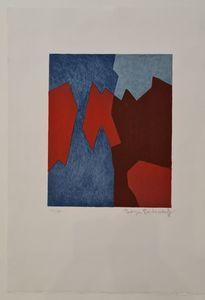 Serge POLIAKOFF - Print-Multiple - Composition rouge et bleue n°68