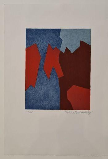 塞尔日•波利雅科夫 - 版画 - Composition rouge et bleue n°68