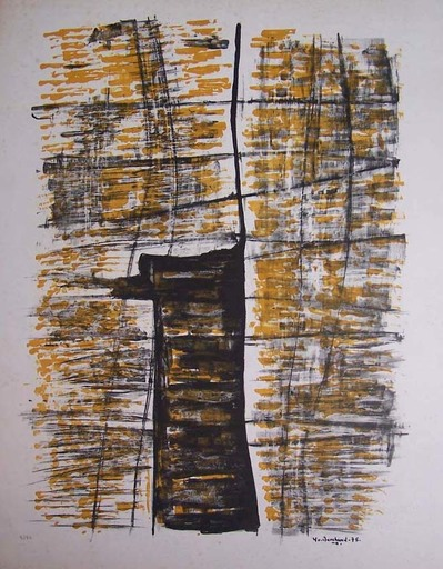 Yo MARCHAND - Grabado - Abstract Composition in Black and Yellow
