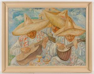 "Joseph LEVIN - Peinture - ""Mexican musicians"" oil on canvas, 1943"