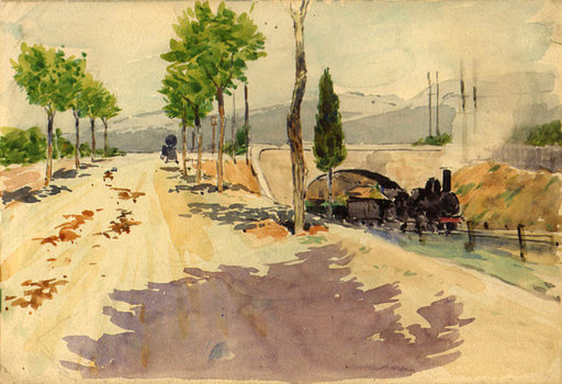 Pierre GATIER - Disegno Acquarello - Landschaft mit Dampflok / Paysage avec une locomotive