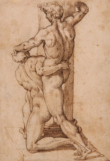 Bartolomeo PASSAROTTI - Drawing-Watercolor - Étude de deux lutteurs