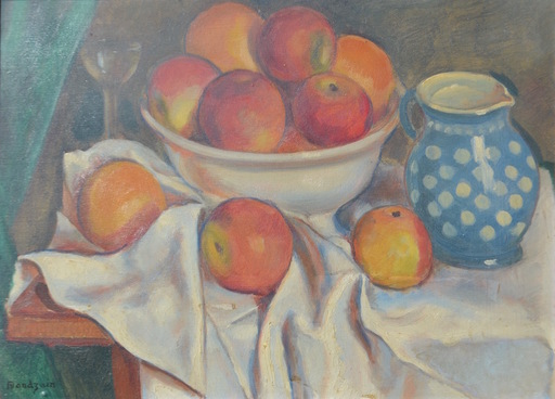 Simon MONDZAIN - Gemälde - Still-life with apples and a jug