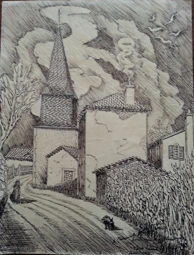 Elie LASCAUX - Dibujo Acuarela - Eglise Saint Denis des Murs (Haute Vienne)