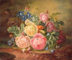 Amalie KÄRCHER - Gemälde - Untitled (Still Life with Flowers and Insects)